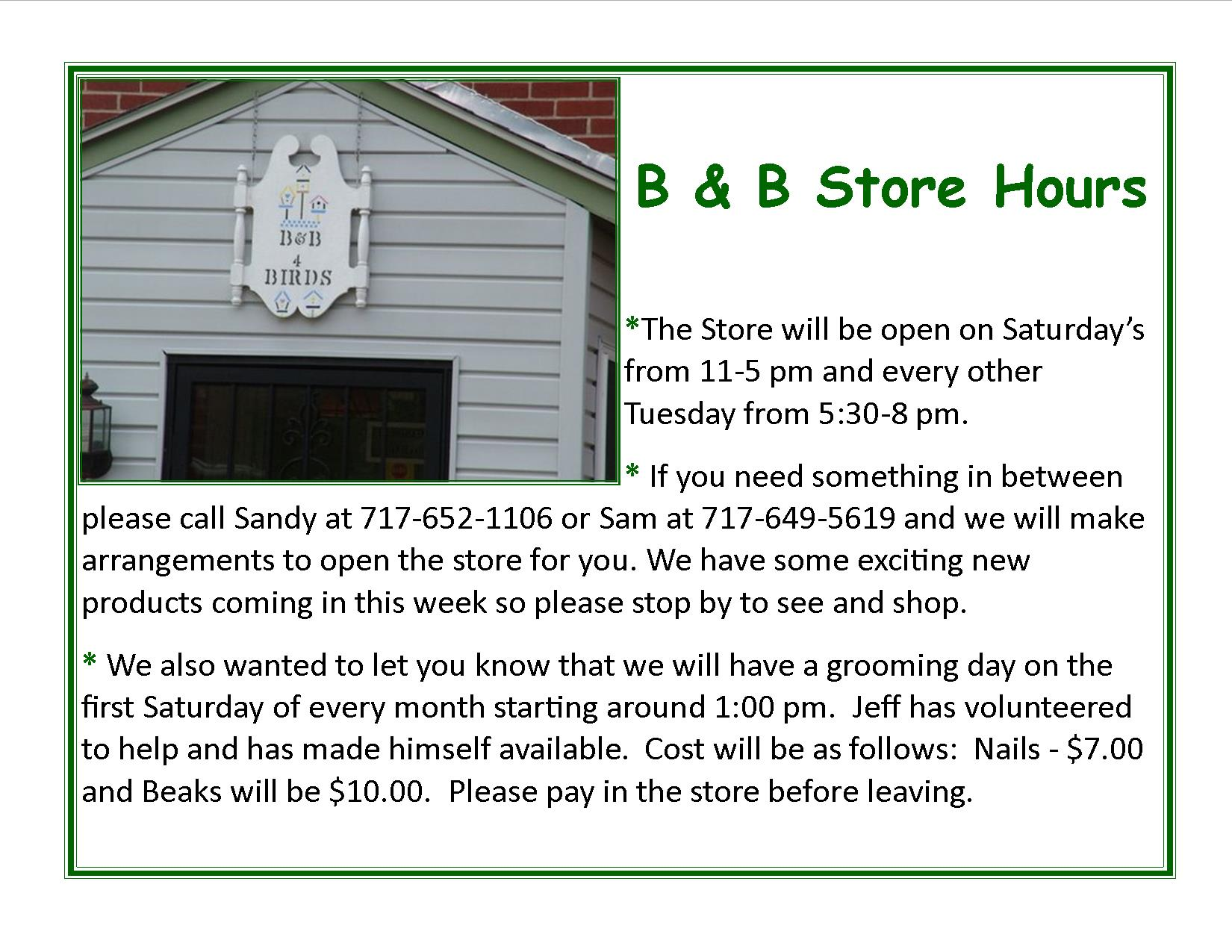 B&B Store 2015 spring hours