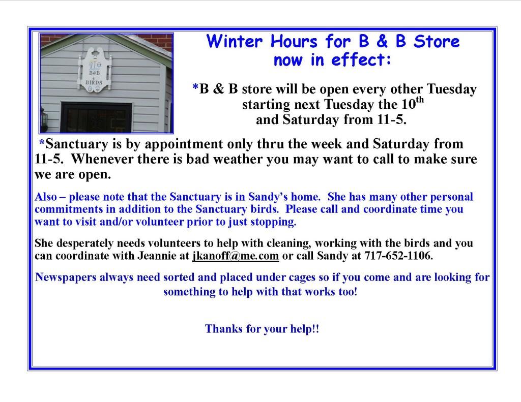 B&B Store winter hours3